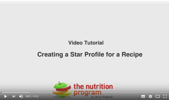 Use Nutrition Program to do a Recipe Star Profile